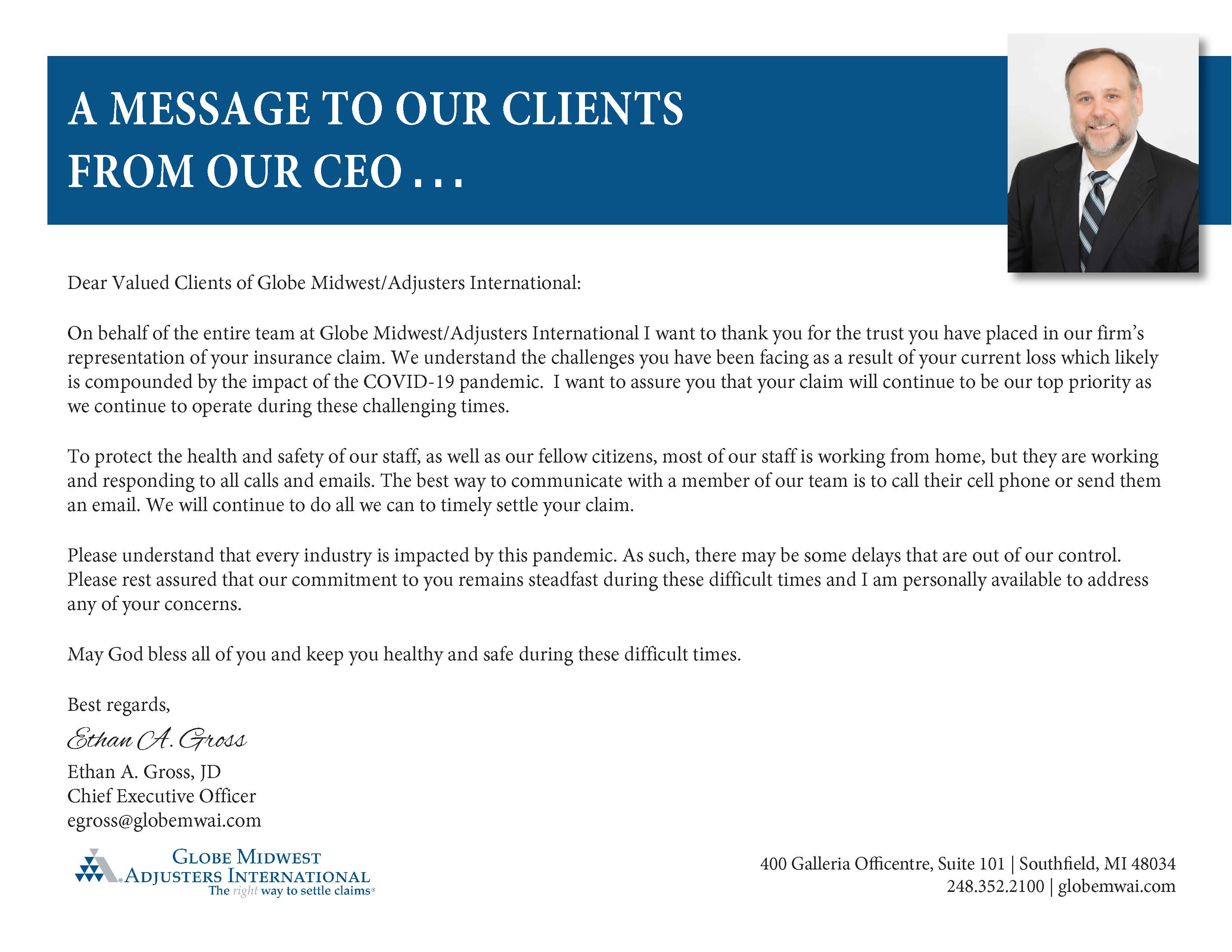 A Message to Our Clients from Our CEO